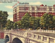 An early postcard showing the Marott Hotel and Meridian Street Bridge (courtesy ebay)