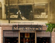 Historic photograph courtesy of the Indiana Album: loaned by Evan Finch. / Modern photograph courtesy of MacNiven's Restaurant  & Bar