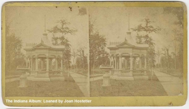 Faded stereoview of Woodruff Place offered by C. S. Judd, 95 E. Washington Street, Indianapolis (The Indiana Album: Loaned by Joan Hostetler)