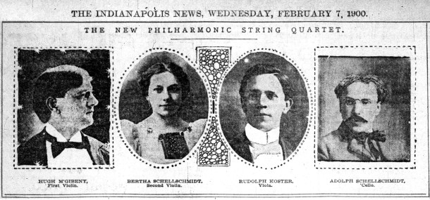 Sister and brother, Bertha and Adolph Schellschmidt, performed in a quartet in 1904 (scan courtesy of newspapers.com)