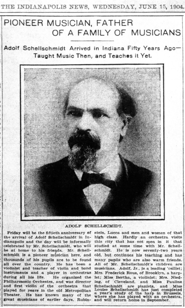 The patriarch of the Schellschmidt family, Adolph, Sr., celebrated 50 years of making music in Indianapolis in 1904 (scan courtesy of newspapers.com)