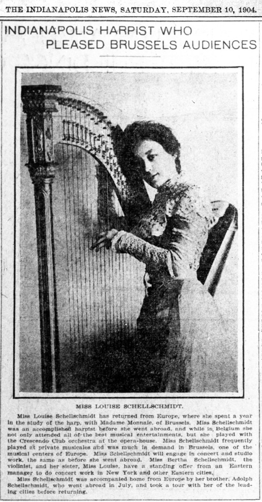 Louise Schellschmidt studied and performed in Europe in 1908 and 1909 (scan courtesy of newspapers.com)