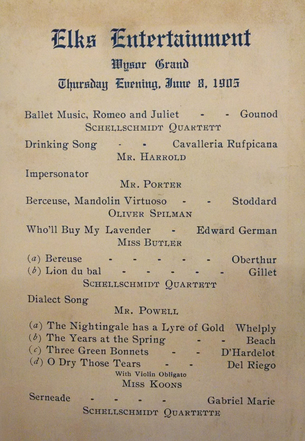 The Schellschmidt Quartett [sic] performed at an Elks Club event in 1905 (program in the Indianapolis Public Library collection)