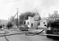 Indianapolis Fire Department fighting fire, ca. 1950s (Indianapolis Firefighters Museum Collection, Digital Rights 2010 Indianapolis Public Library)