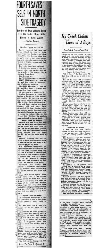 The front page of the Indianapolis Star detailed the drowning of three northside boys (scan courtesy of the Indianapolis Public Library)   CLICK TO ENLARGE
