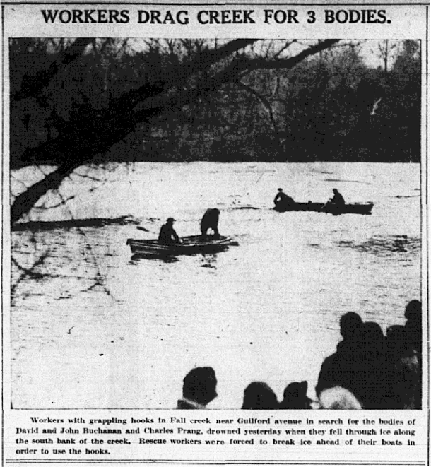 Workers drag Fall Creek for the bodies of the three boys (scan courtesy of the Indianapolis Public Library)