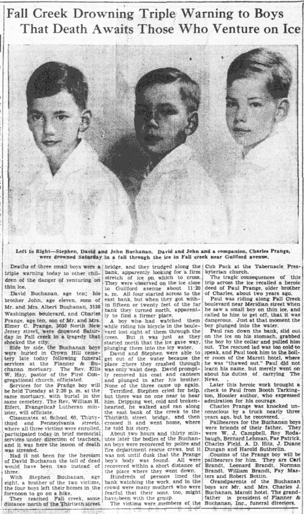 The Indianapolis News reported on the boys' funerals on Monday, January 13, 1936 (scan courtesy of the Indianapolis Public Library)