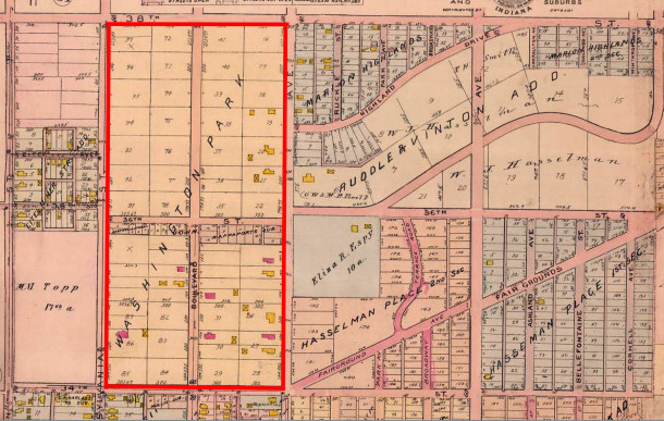 Washington Park Place was the original legal description of the area (1908 Baist Map 20 courtesy of IUPUI Digital Archives)