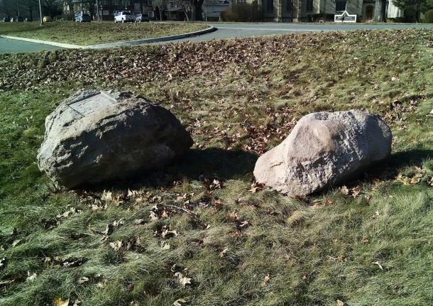 The boulders have been moved from their original location (2015 photo by Sharon Butsch Freeland)
