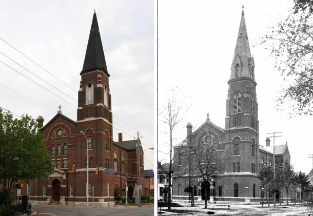 Lockerbie Central United Methodist Church (ca. 2010) and the First German Evangelical Church (Indianapolis Illustrated, 1893)