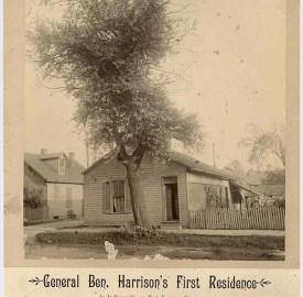 """Mounted photo of """"General Ben. Harrison's First Residence"""" on E. Vermont Street. (Indiana Historical Society, Collection P482)"""