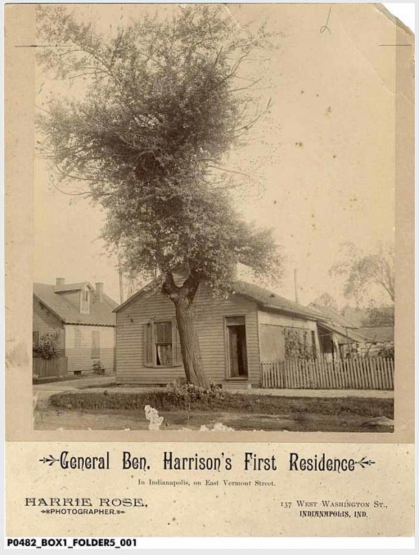 "Mounted photo of ""General Ben. Harrison's First Residence"" on E. Vermont Street. (Indiana Historical Society, Collection P482)"