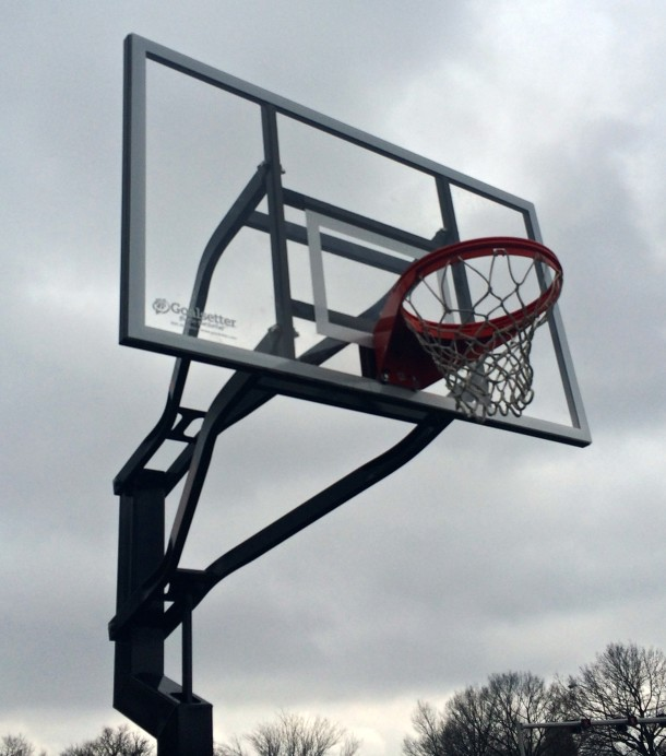 Fall Creek and 30th Park features two full-sized basketball courts.