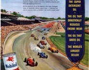 Mobil Oil boasts three consecutive victories in this add including the 1953 race won by Bill Vukovich. Notice the wooden grandstands and brick front-stretch (Courtesy ebay)