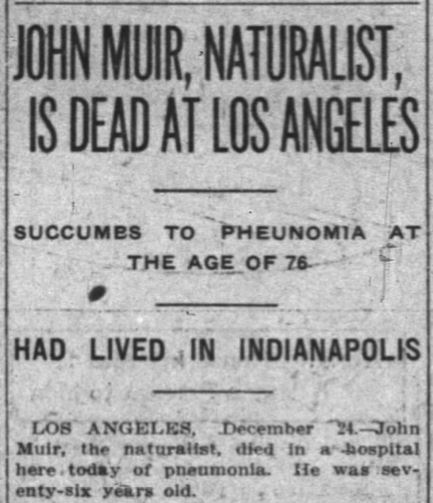 John Muir Obit -- Indianapolis News, December 24, 1914