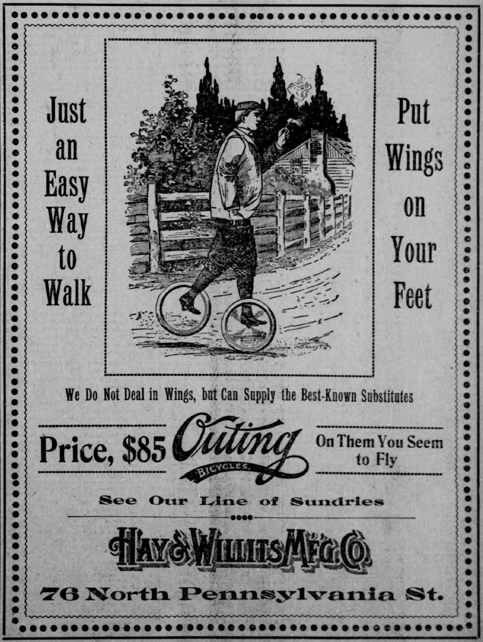 Outing Bicycles - Indianapolis Journal May 3 1896