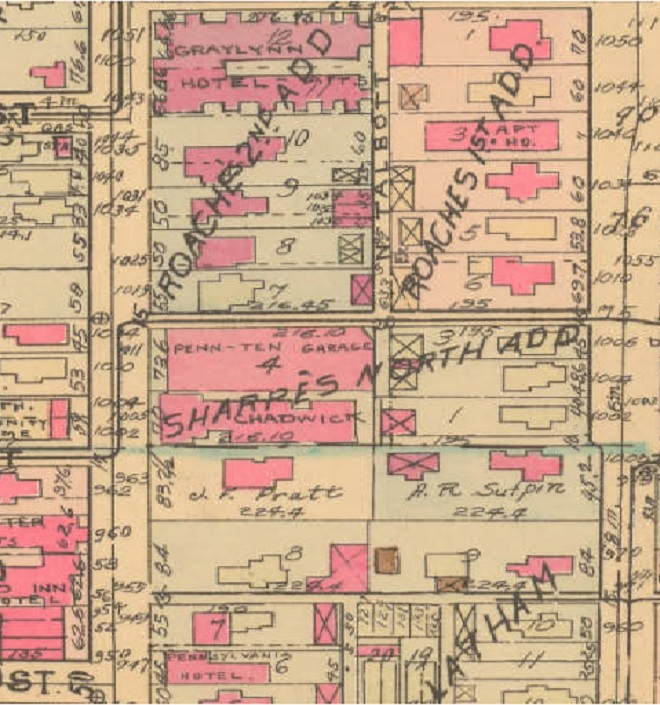 This 1941 Baist map shows that 11th Street once severely jogged to the north between Pennsylvania and Delaware Streets. It was straightened through the Graylynn during interstate construction. Today the Calvin Fletcher House at 1031 north Pennsylvania is all that remains from this block (Courtesy IUPUI)
