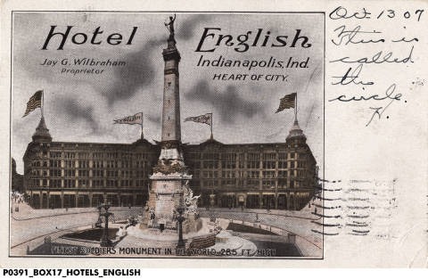 The Hotel English on Monument Circle (courtesy of The Indiana Historical Society)