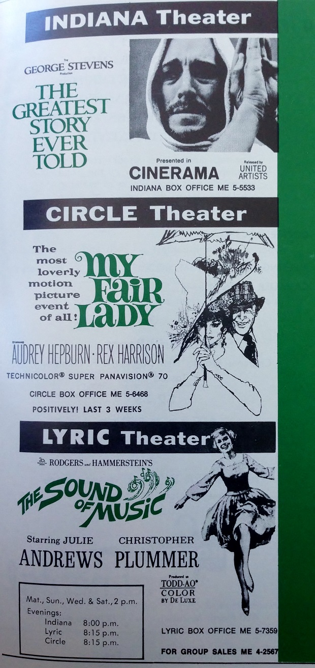 The three remaining downtown theaters were still showing the biggest movies of the day in 1965. Although no longer showing movies the Indiana and Circle have been restored. Sadly the Lyric was destroyed in 1970 (Courtesy Indiana State Library)