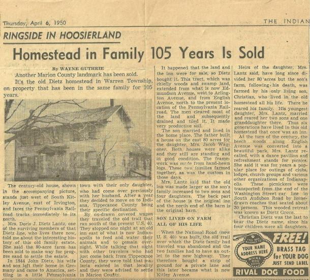 dietz farmhouse indianapolis star april 6, 1950