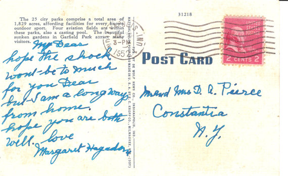 Postmarked July 30th, 1952 (attribution: )