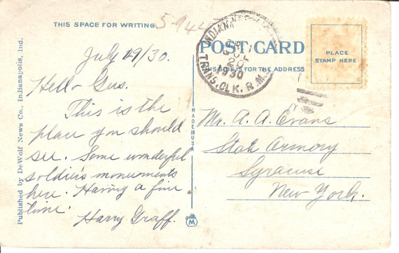 Postmarked July 20th, 1930