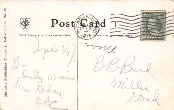 Postmarked July 7th, 1911 (attribution: http://stores.ebay.com/The-Stamp-and-Coin-Place)