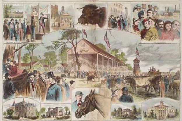 This painting captures highlights of the 1867 fair (Courtesy State of Indiana Public Media Archives)