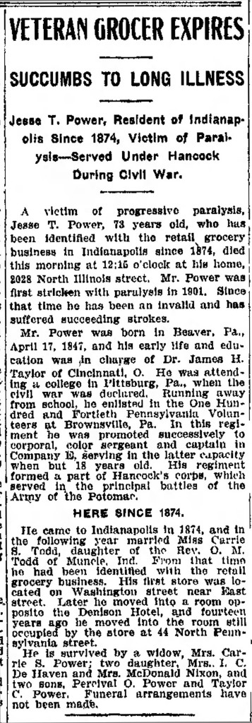 Jesse T. Power's November 11, 1915 obit appeared in the Indianapolis Star (scan courtesy of Indianapolis Public Library archives)