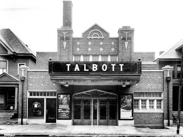 A small portion of the double at 2147-49 can be seen in this 1926 photo of the Talbott Theatre (W. H Bass Photo Company Collection courtesy of the Indiana Historical Society)