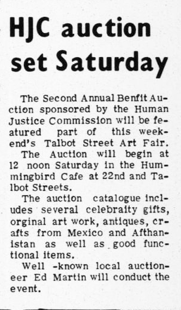 Special events like the Human Justice Commission's 1975 auction were held in the Hummingbird (scan of The Indianapolis Recorder from June 6, 1975 courtesy of IUPUI Digital Archives