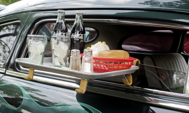 Curbside service included a tray designed to fit in a vehicle's window