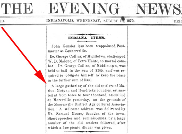 1870 newspaper clipping appeared in the Indianapolis News