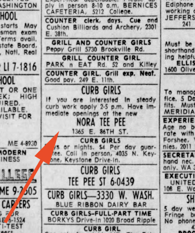 A want ad in the Indianapolis Star sought help at the Nora Tee Pee (clipping ourtesy of newspapers.com)