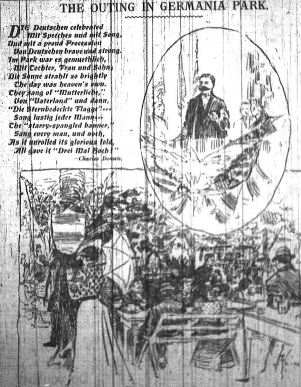 An artist's rendering of the festivities celebrating German Day in 1899 (Courtesy Indiana State Library)