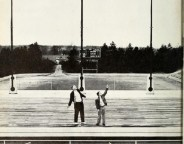 Butler students clowning around on the stage of the newly completed Brown Theater in 1955 (Courtesy Butler University)