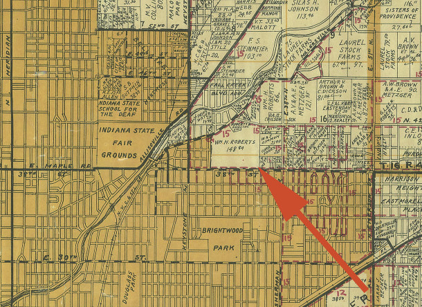 The 1931 Wagner map shows the acreage that would become The Meadows area (map courtesy of Indiana State Library Map Collection)