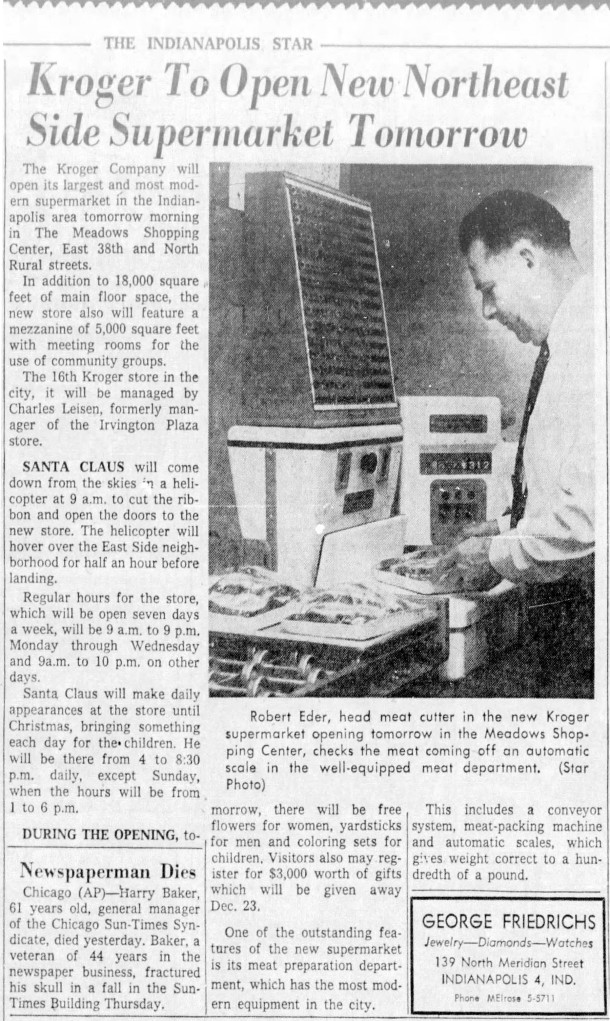 1956 Indianapolis Star article announced the opening of a new Kroger in the Meadows Shopping Center (scan courtesy of newspapers.com)
