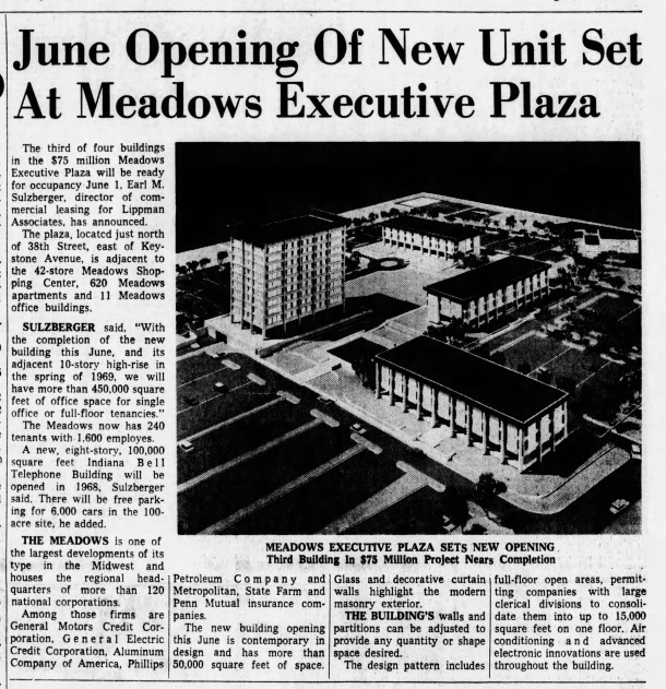 By 1967, the third building in the Meadows Executive Plaza was completed (Indianapolis Star article courtesy of newspapers.com)