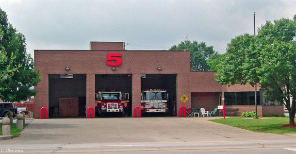 IFD Station 5 occupied the former hotel site from 1983- 2008. Today the concrete drive leads to a vacant lot (Courtesy Indiana Firetrucks)