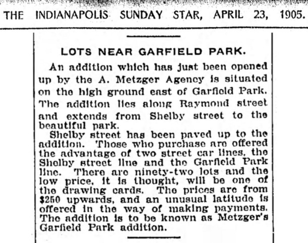 1905 Indianapolis Star article announcing a new addition adjacent to Garfield Park  (courtesy of newspapers.com)