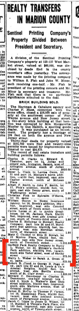 1913 Indianapolis Star clipping shows the purchase of Lot 32 in Metzger's Garfield Park Addition (courtesy of newspapers.com)