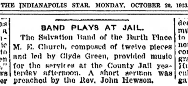 1913 Indianapolis Star clipping reported that Clyde Green entertained prisoners at the jail (courtesy of newspapers.com)