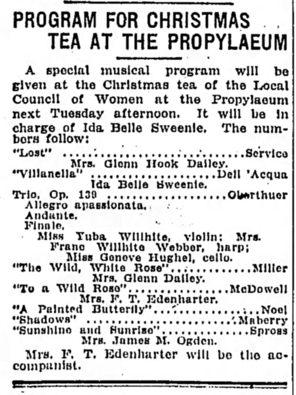 A 1915 tea at the Propylaeum featured a special musical program (courtesy of newspapers.com)