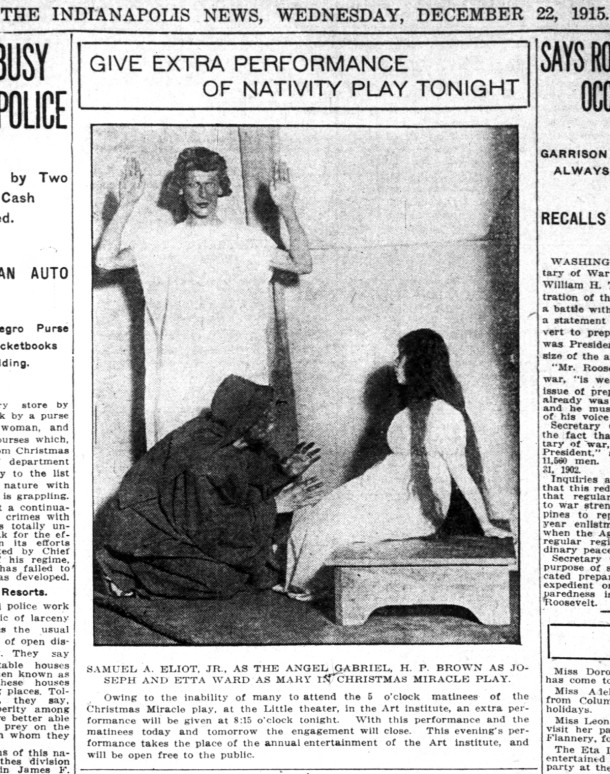 1915 Christmas production by the Little Theatre (courtesy of newspapers.com)