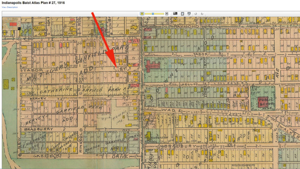 1916 Baist Atlas map shows 1037-39 E. Tabor as one of the first stuctures on the street (courtesy of IUPUI Digital Archives CLICK TO ENLARGE