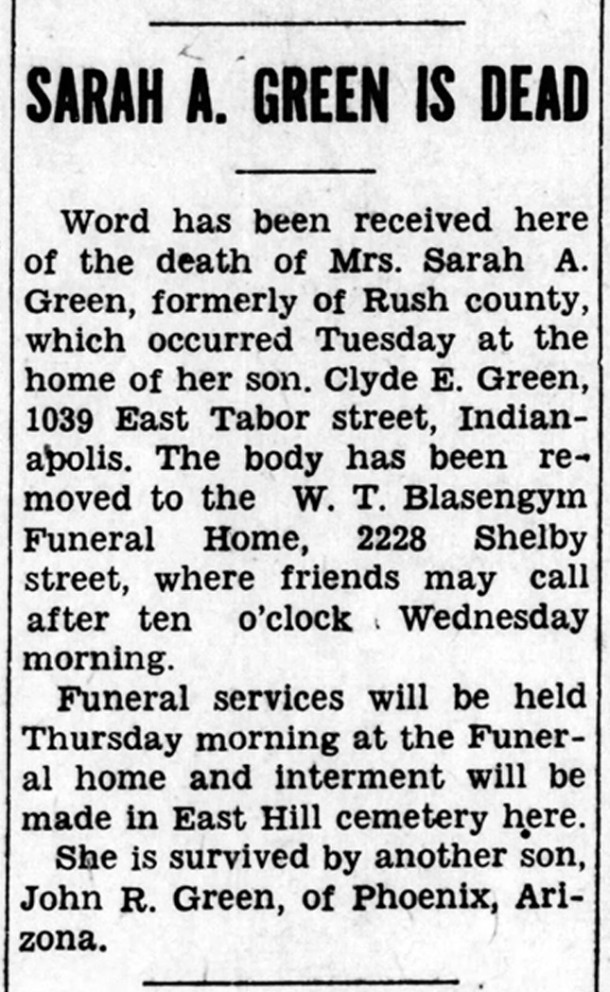 1933 obit in The Rushville Republican for Sarah Green (courtesy of newspapers.com)