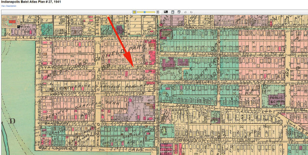 1941 Baist Atlas map 27 shows the neighborhood after it was completely built (courtesy of IUPUI Digital Archives)