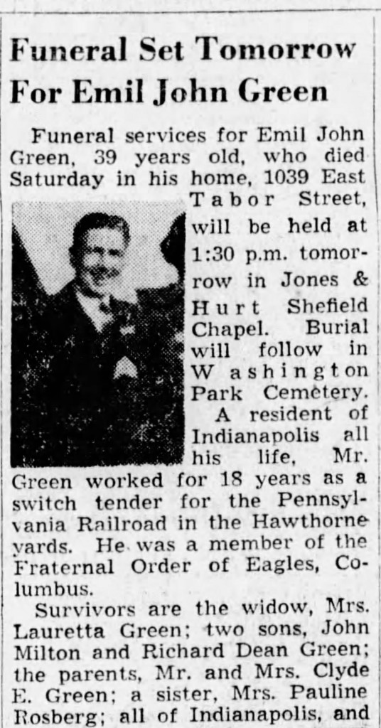 1948 Indianapolis Star obit for Emil Green (courtesy of newspapers.com)