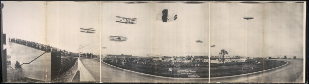 A view of the 1910 aviation meet. This had to be a dramatic scene to a crowd witnessing flight for the first time (Courtesy Library of Congress)